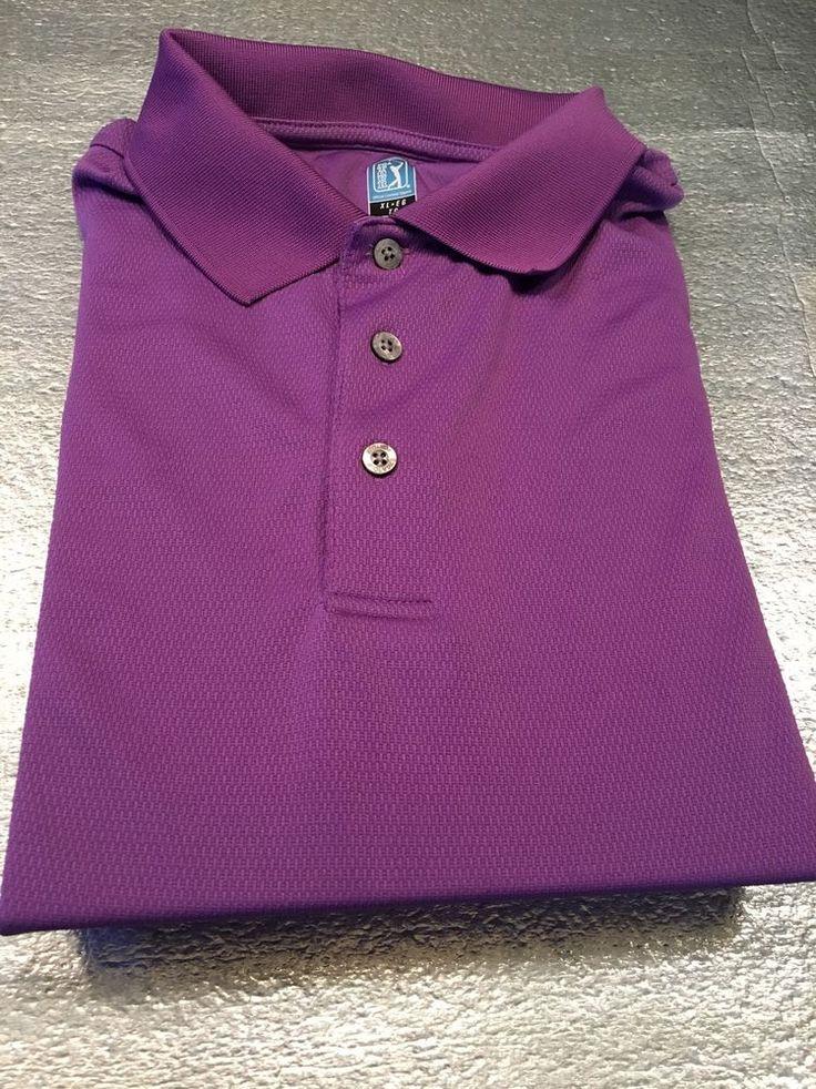 Men's PGA TOUR Airflux Golf Polo Shirt - Purple, Textured - Polyester - Size XL #PGATOUR #PoloRugby