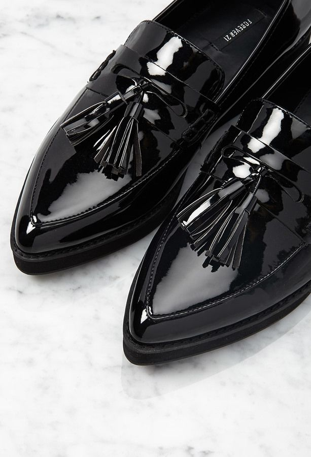 $29, Black Leather Tassel Loafers: Forever 21 Pointed Faux Patent Flatform Loafers. Sold by Forever 21. Click for more info: https://lookastic.com/women/shop_items/222340/redirect