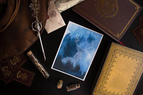 Its everyones favorite book, and that is why we had to make a Deluxe print collection inspired in Hogwarts and all the magic that surrounds the castle and its students. Harry Potters patronus, the deer, is majestically shown in this print.  The size of this print is 144x21 cm approximately. It is printed and it doesnt come laminated. The material used is watercolor paper, which gives the bookmarks and the designs an elegant and premium feeling.  If you want your own Patronus customized for…