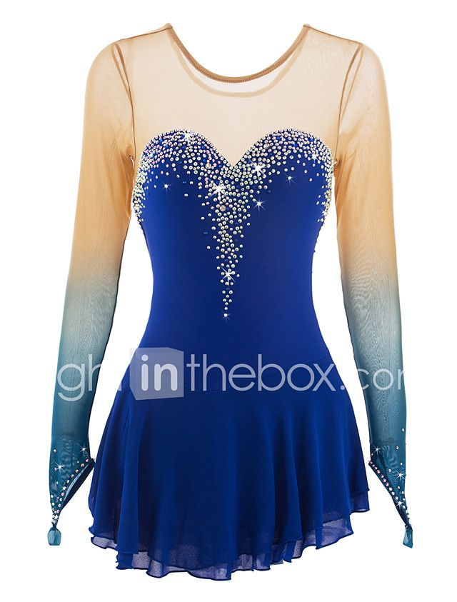 Figure Skating Dress Women's Girls' Ice Skating Dress Aquamarine Spandex Rhinestone Performance Skating Wear Handmade Jeweled Rhinestone 2018 - $179.99