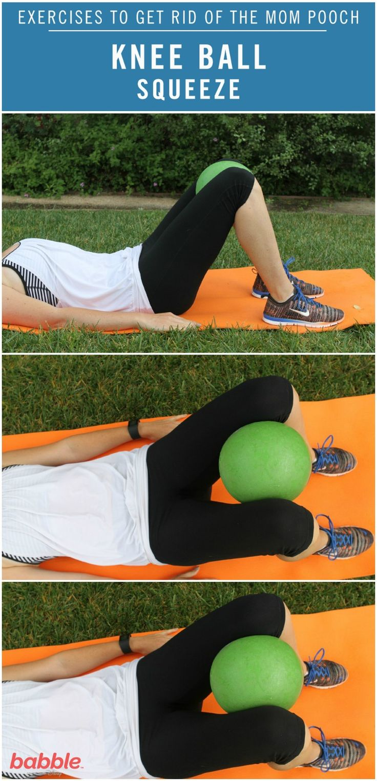 As moms, we all dream of having our old, pre-pregnancy bodies back. However, we all know that it's a lot easier said than done. Luckily, we've created a workout routine to help you get on the right track of making this dream a reality. The Knee Ball Squeeze is one of the simple exercises from this routine that will build your strength. Grab a yoga mat and flexible ball to get started on losing that mom pooch! Click for the full directions.