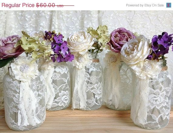 CHRISTMAS IN JULY SALE ivory lace covered mason jar vases perfect for wedding, bridal shower decoration