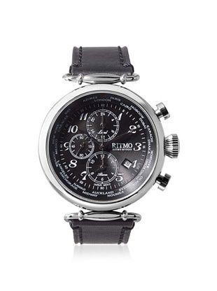 -39,800% OFF Ritmo Mundo Men's 704/1 SS Black Corinthian World Time Leather Watch