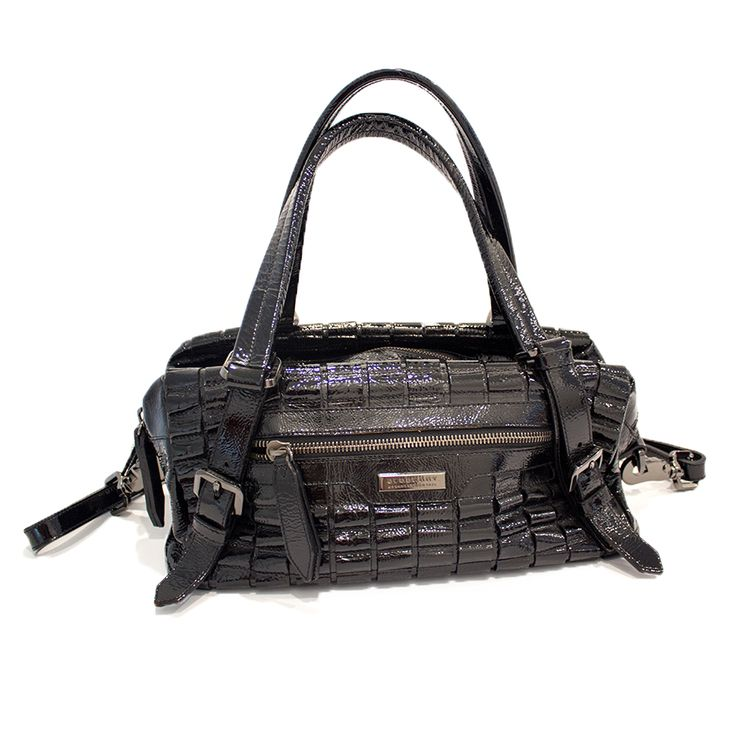 Burberry Distressed Black Patent Leather Tote