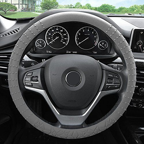 Perfect FH Group FHGRAY Gray Steering Wheel Cover Silicone W Nibs u Pattern Massaging grip