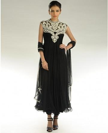 Black Sleeveless suit with embroidered yoke and ruffled hem