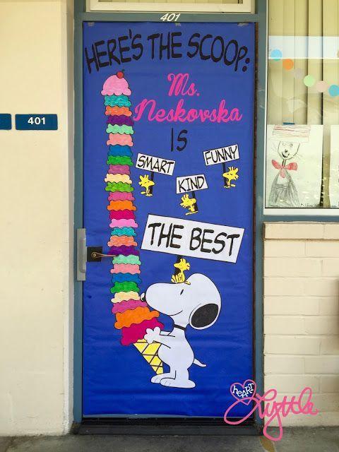 Here 39 s the scoop snoopy themed teacher appreciation door for Idea door primary