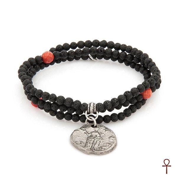 Lava Stone Men Pendant #black #coin #coral #gemstone #lava #red #silver #men #pendant #bracelet
