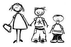 line drawing three children