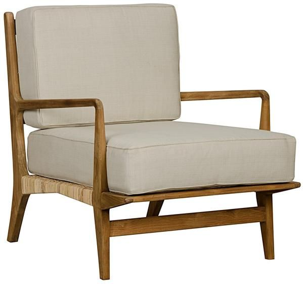 """Allister Chair with Rattan and Teak Dimensions: 29"""" x 35"""" x 31.5""""H Wood type: Teak & Rattan Finish: Teak Oil Fabric: White Cotton Please allow 8 weeks Freig"""