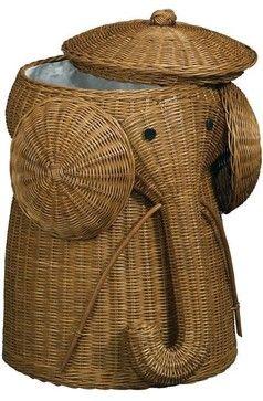 Rattan Elephant Hamper - Laundry Hampers - Bath | HomeDecorators.com asian-laundry-baskets
