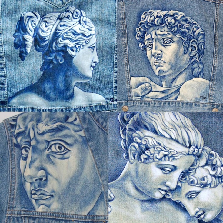 Custom Hand Painted Denim, Jackets - Oh the fun of doing a Dr Who theme of weeping angels.....