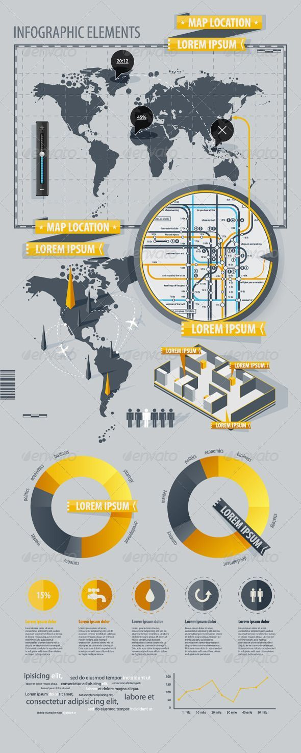 Infographic Elements with world map - Infographics #infographic #graphic #design #graphicdesign #web #graph #stats #chart #statistic #pie #vector #eps #illustrator #map #world #worldmap