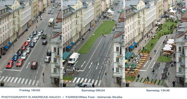 Salzburg did an experiment: transform St Julien Street in less than 24h from a car space to a pedestrian friendly space.