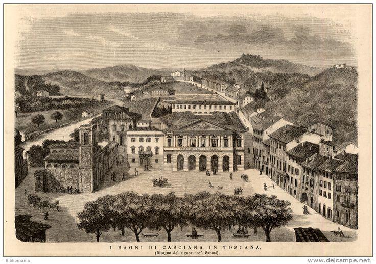 Rivista del 1874 incisione dei Bagni di CASCIANA TERME Pisa