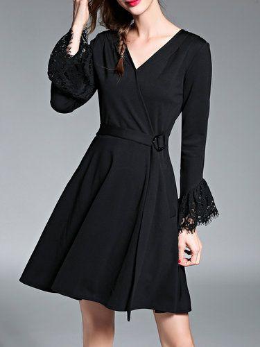 Black V Neck Paneled Flared Sleeve Elegant Midi Dress