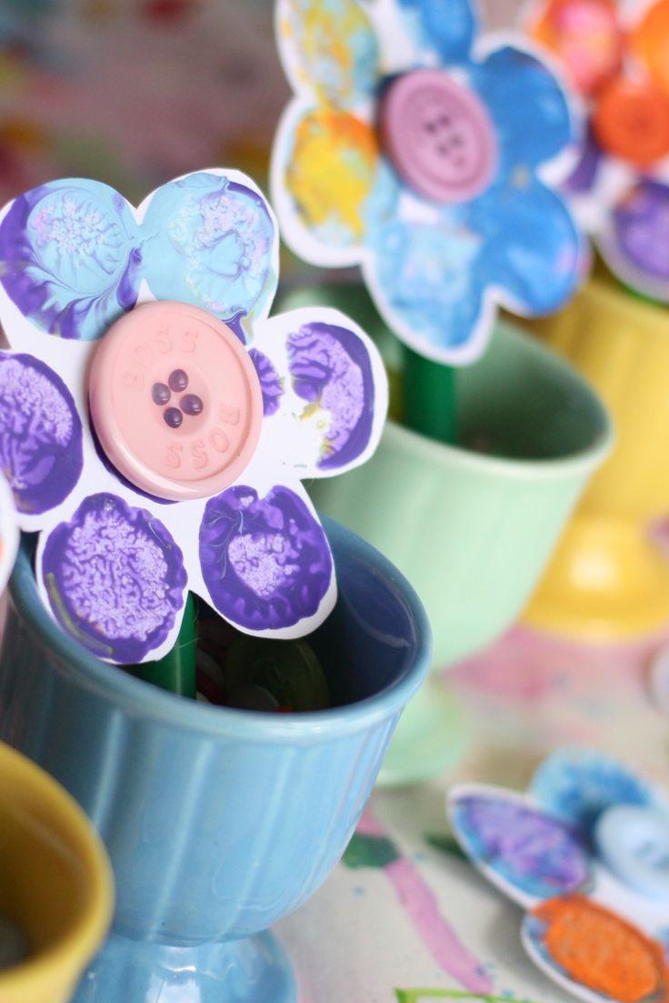 Cork-Stamped Button Flowers - Happy Hooligans