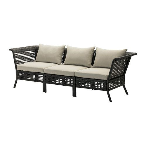 IKEA - KUNGSHOLMEN / HÅLLÖ, 3-seat sofa, outdoor, , By combining different seating sections you can create a sofa in a shape and size that perfectly suits your outdoor space.Durable, weather-resistant and maintenance-free since it's made of plastic rattan and rustproof aluminium.The cushion has a longer life, since it can be turned over and used on both sides.The cover is easy to keep clean and fresh, as you can take it off and machine-wash it.You can make your sofa more comfortable and…