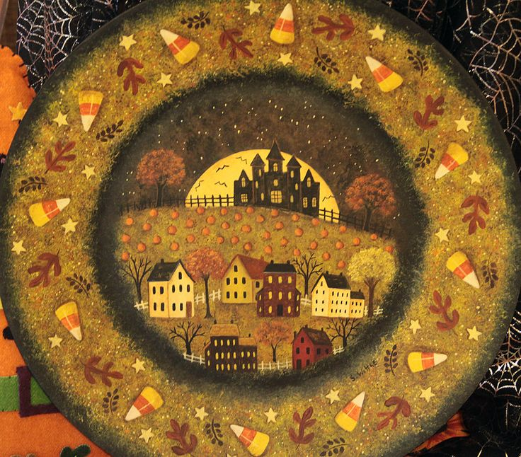 Folk Art Halloween Wood Plate - Hand painted MADE TO ORDER - Primitive Saltbox Village Full Moon Pumpkins Candy Corn Autumn Leaves Bats & 47 best wood plates images on Pinterest | Decorative paintings ...