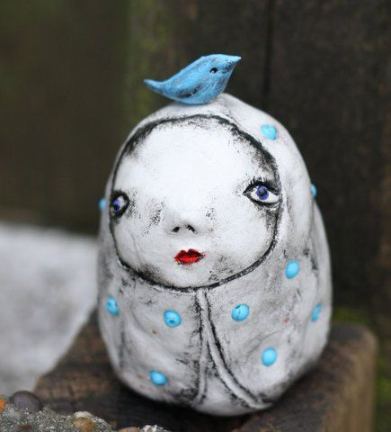My little blue bird OOAK art doll by MahtabGrimshaw on Etsy, £40.00