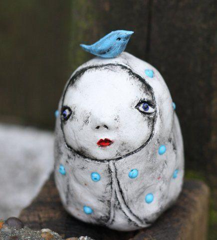 My little blue bird OOAK art doll by MahtabGrimshaw on Etsy
