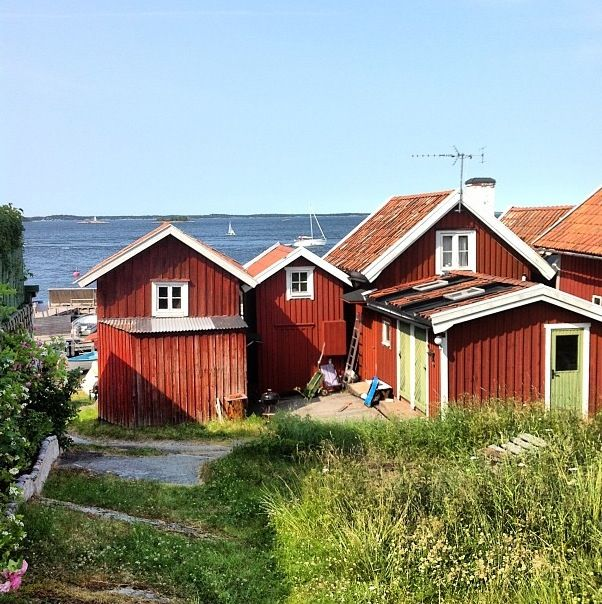 The typical red houses at Sandhamn, Sweden #Misummer #Archipelago