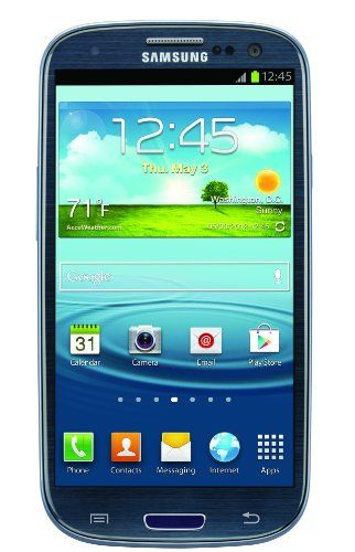 Samsung Galaxy S III, Blue 16GB (AT&T) Display: 4.8-inches. Camera: 8-MP. Processor Speed: 1.5 GHz. OS: Android 4.0 (Ice Cream Sandwich).  #Samsung #Wireless