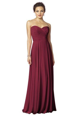Cranberry long bridesmaid dress