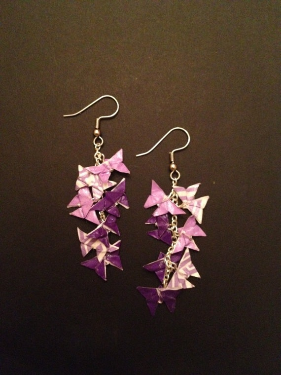 Origami butterfly earrings!  Tiny handmade origami butterflies linked on a sterling silver chain  $20