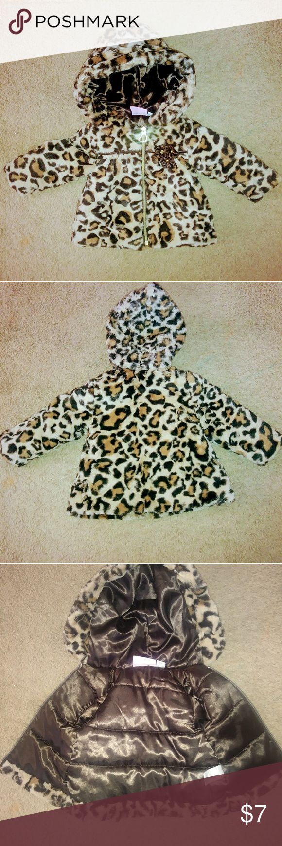 12M Leonard Print Coat 12- month; tan, brown, cream colored leopard-print coat; faux fur on outside; brown satin lining; zipper front; brown satin flowers left breast pocket area; attached hood; worn twice; Pistachio brand & Other Stories Jackets & Coats