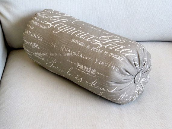 French script  taupe/khaki accent lumbar by theBolsterQueens