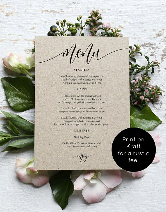 Wedding Menu Template Printable Menu Card 5x7 Wedding Etsy Printable Menu Template Wedding Menu Template Printable Menu Cards