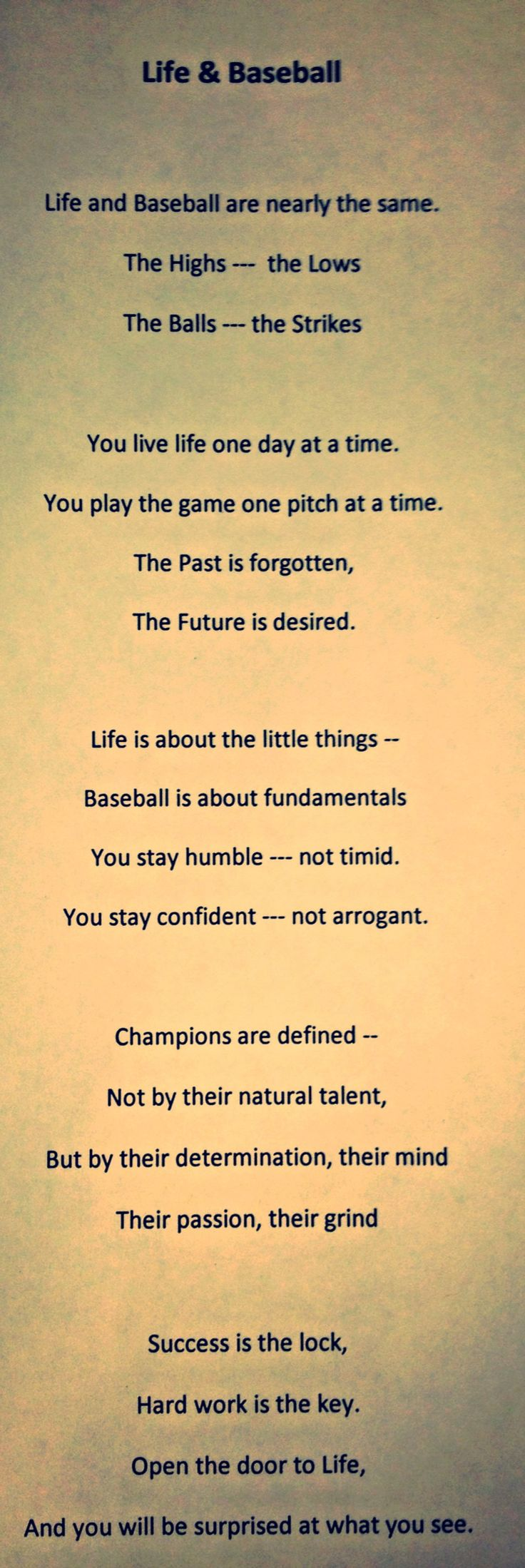 An original poem that relates life to baseball