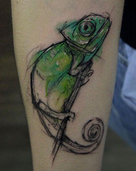 Chameleon Sketch Style Tattoo by Kamil Mokot