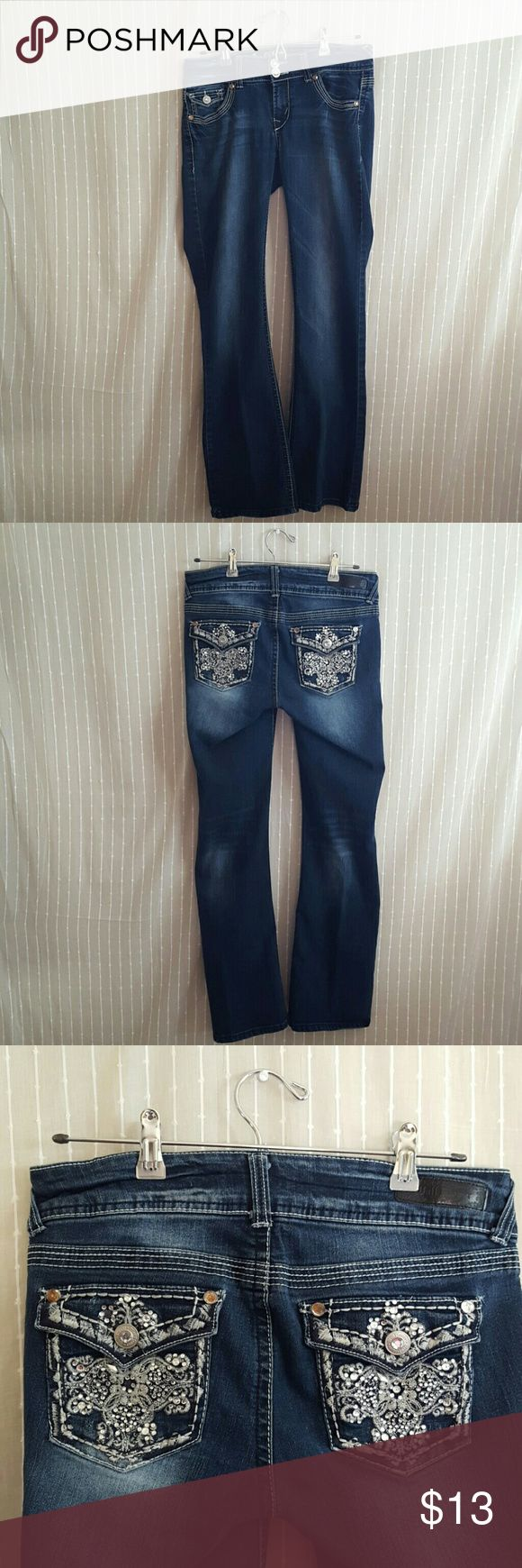 Wallflower Embellished Jeans Wallflower stretchy blue jeans with embellished pockets. Size 9 but would fit a women's 8. Great condition.   Measurements laying flat in inches  Waist 14.5 Hips 17.5 Length 40 Front Rise 8 Inseam 31 Wallflower Jeans Boot Cut