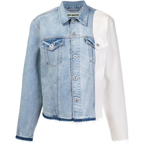 Off-White Off-White X Levi's Made &Amp; Crafted Colour Block Denim... ($1,143) ❤ liked on Polyvore featuring outerwear, jackets, blue, color block jacket, jean jacket, blue jackets, off white jacket and blue jean jacket