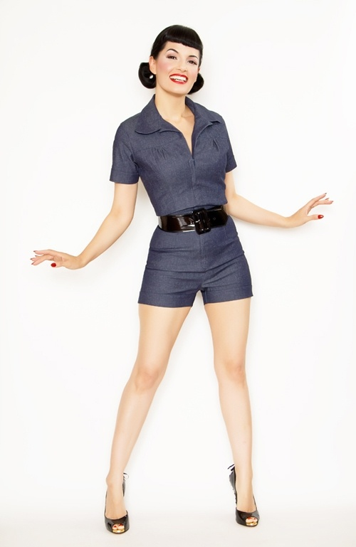 Rockabilly!  Find mens work coveralls, cut them off and roll a cuff for shorts and find a belt or bandana for belt!
