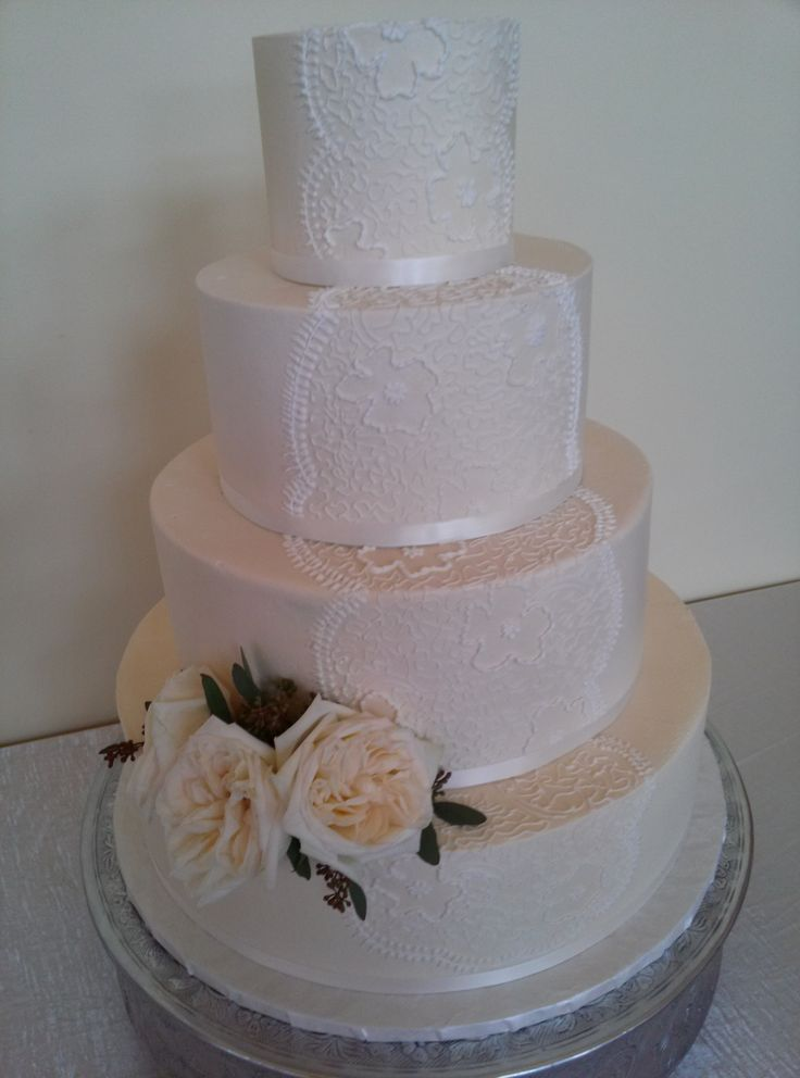 Lace Wedding Cake By Creme De La Company In Fort Worth TX