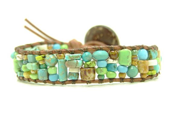 Green Tile Beaded  Leather Wrap Bracelet Picasso Seed Bead
