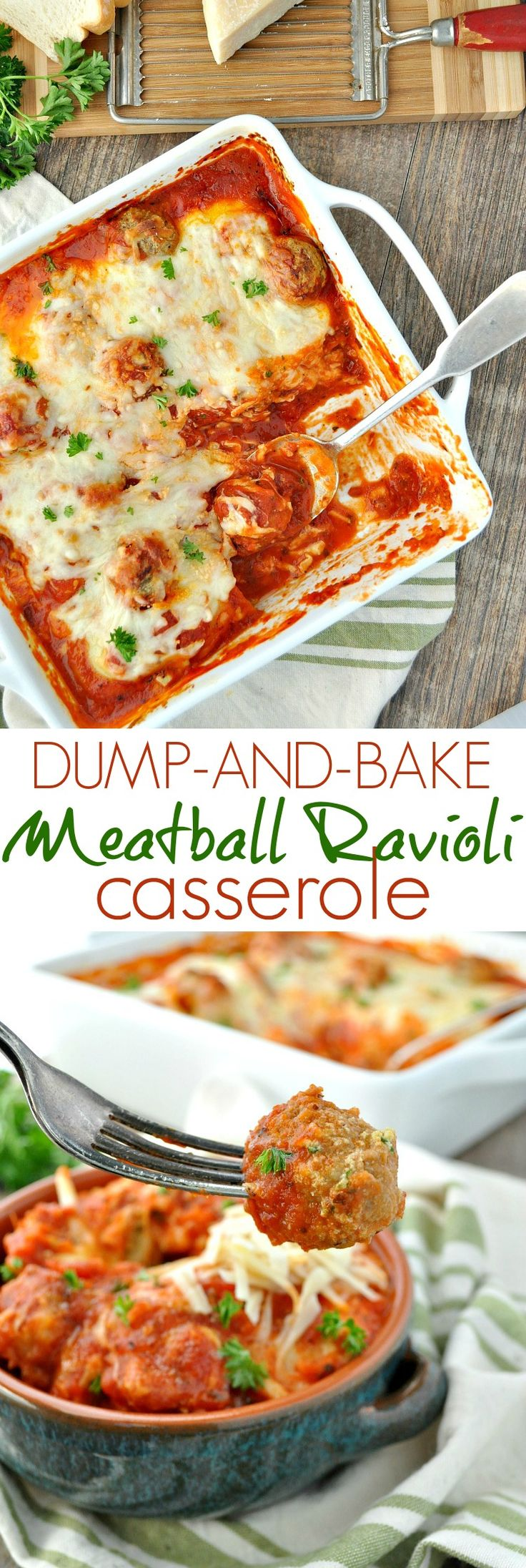 There's no need to boil the pasta or cook the meat for this easy 5-ingredient Dump-and-Bake Meatball Ravioli Casserole!
