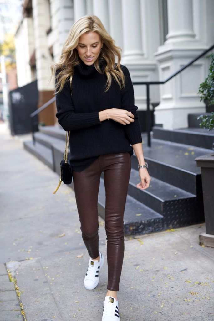Holiday Outfit, Holiday gift guide, Black Friday Deals. Adidas Superstar, Rag & Bone Leather pants