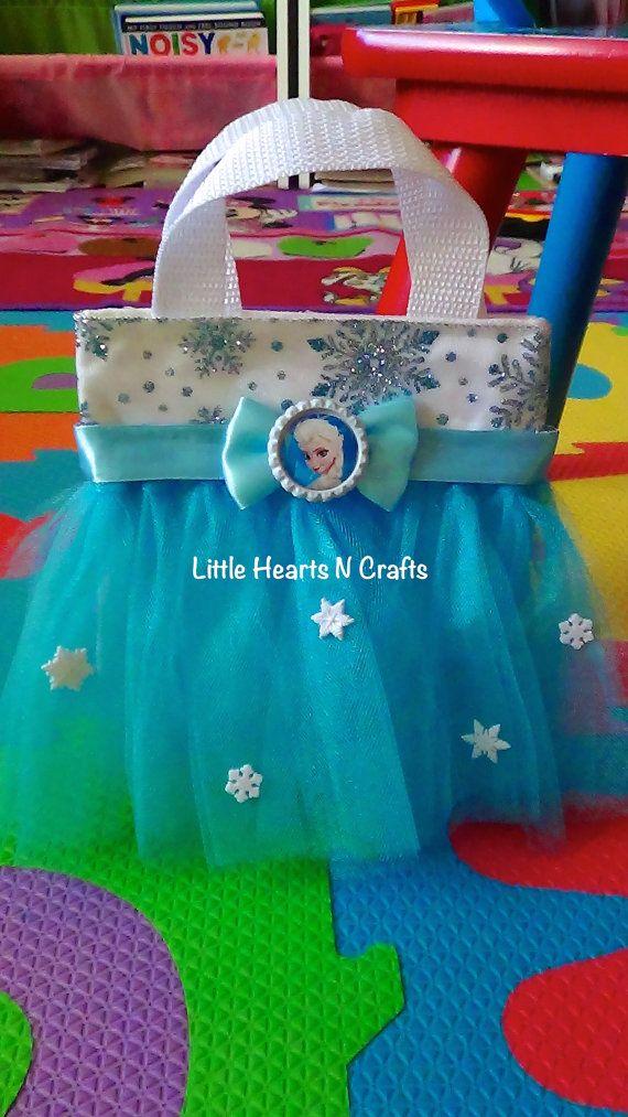 Elsa Purse - Frozen Tutu - Princess Inspired Tutu Purse Canvas Tote Bag - Smaller size