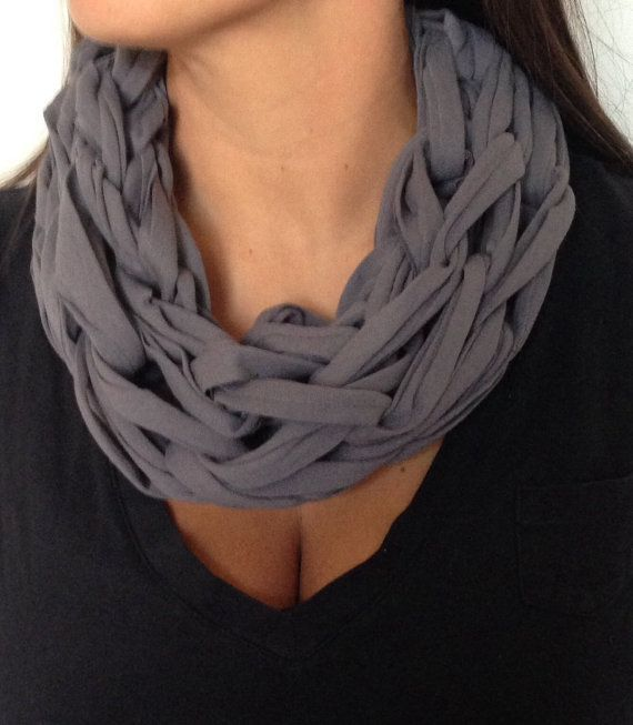 Adult arm knitted single tee-shirt yarn infinity scarves.