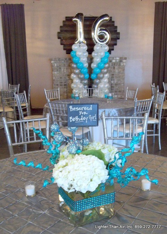 Sweet 16 Party Is Complete With The Teal Green Silver