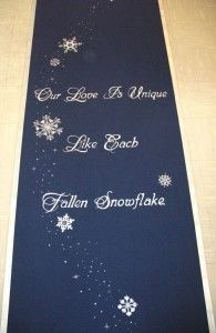 Our Love Snowflake  Custom wedding runner by The Original Runner Company.    www.originalrunners.com