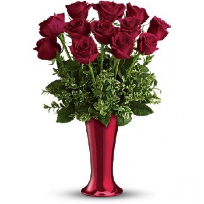 One dozen gorgeous red roses delivered in a tapered contemporary ceramic vase coated with a bright red vacuum-metallized finish.