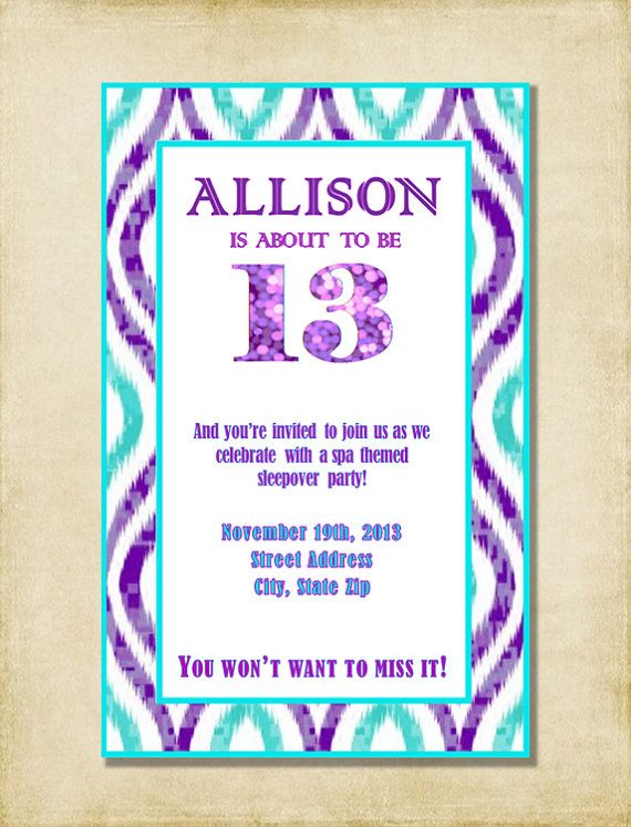girl 13th birthday party invitation purple aqua by