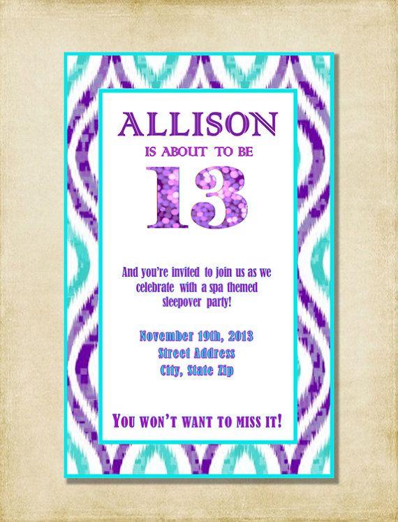 girl 13th birthday party invitation purple aqua by