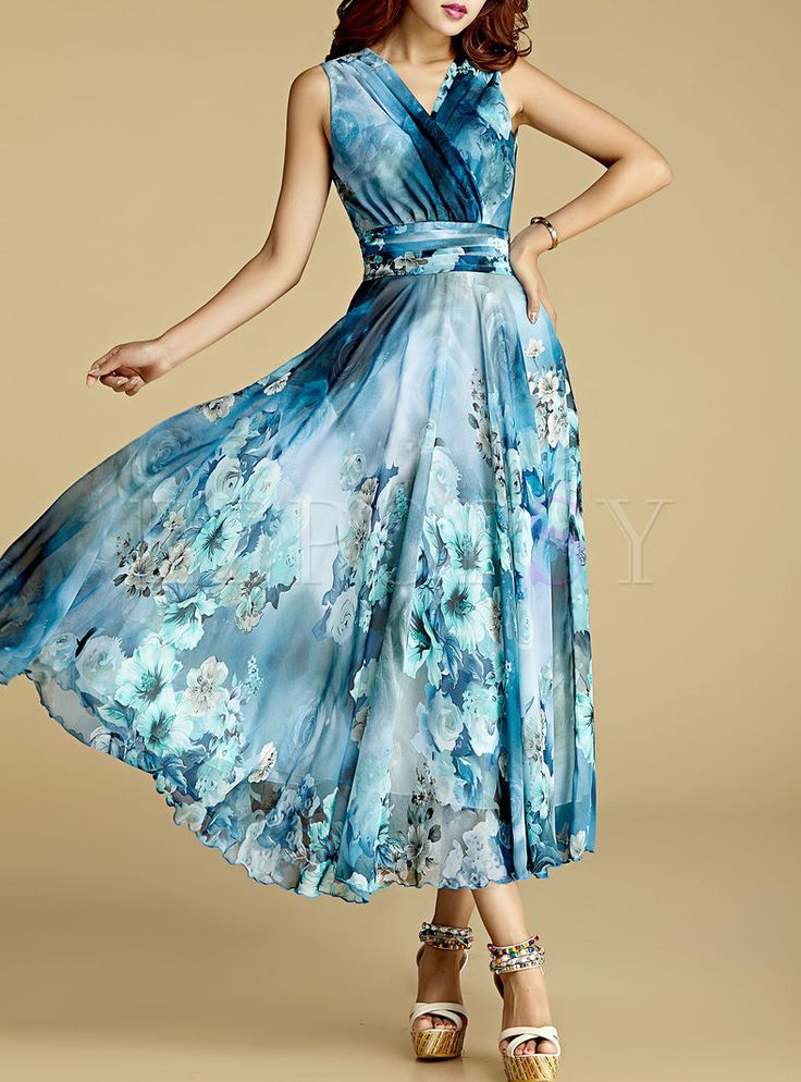 Shop for high quality Elegant Nipped Waist Sleeveless Chiffon Maxi Dress online at cheap prices and discover fashion at Ezpopsy.com