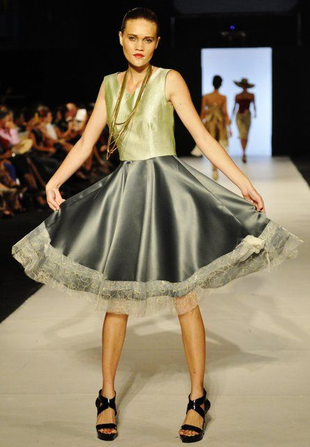 Phillipa Steele in a Jean Ragg piece from her Spring/Summer collection shown at FJFW 2012